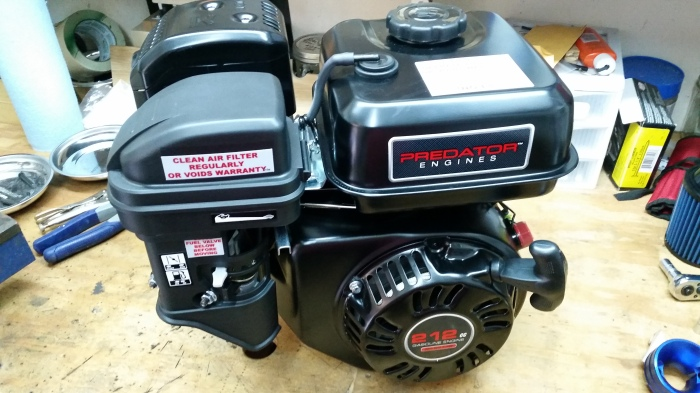 Next, I purchased a horizontal shaft 6.5 HP Predator 212cc engine from Harbor Freight that was on sale for $99.00 (plus tax). I think the regular price is ...